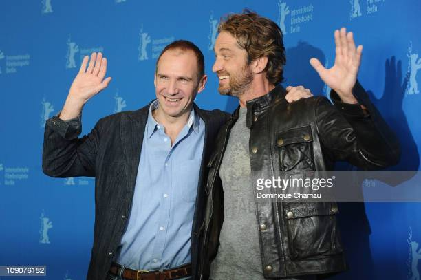 Actors Ralph Fiennes and Gerard Butler attend the 'Coriolanus' Photocall during day five of the 61st Berlin International Film Festival at the Grand...