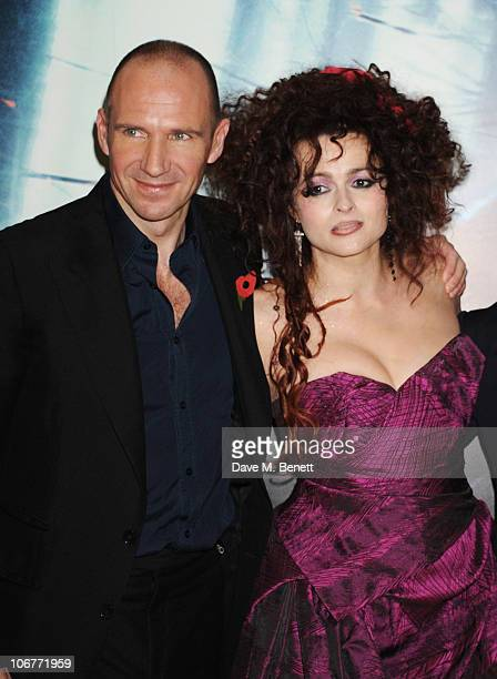 Actors Ralph Fiennes and Helena Bonham Carter attend the World Premiere of Harry Potter And The Deathly Hallows Part 1 at Odeon Leicester Square on...