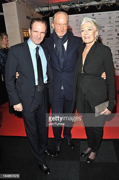 Actors Ralph Fiennes Charles Dance and Vanessa Redgrave arrive for the Moet British Independent Film Awards at Old Billingsgate Market on December 4...
