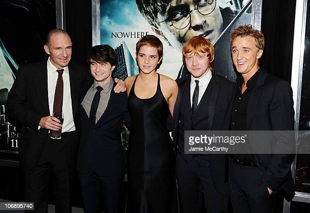 Actors Ralph Fiennes Daniel Radcliffe Emma Watson Rupert Grint and Tom Felton attend the premiere of Harry Potter and the Deathly Hallows Part 1 at...