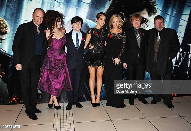 Actors Ralph Fiennes Helena Bonham Carter Daniel Radcliffe Emma Watson author JK Rowling and actors Rupert Grint and Timothy Spall attend the World...