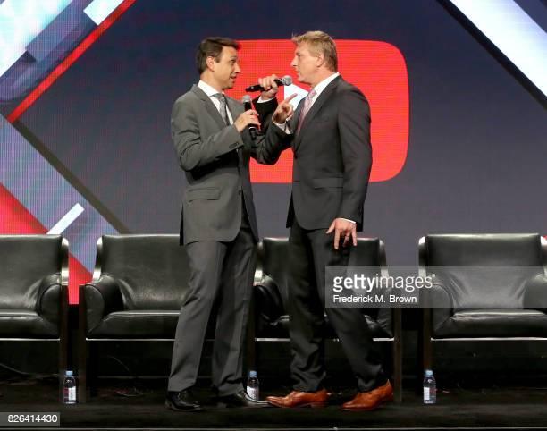 Actors Ralph Macchio and William Zabka of 'Cobra Kai' speak onstage during the YouTube Red Originals Presentation portion of the 2017 Summer...