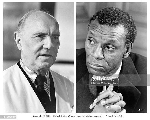 Actors Ralph Richardson and Moses Gunn on set of the United Artist movie 'Rollerball' in 1975
