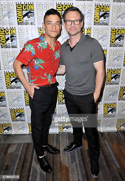 Actors Rami Malek and Christian Slater attend 'Mr Robot' Press Line during ComicCon International 2016 at Hilton Bayfront on July 23 2016 in San...