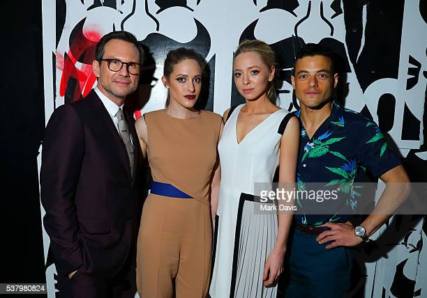 Actors Rami Malek Christian Slater Carly Chaikin and Portia Doubleday ayyend the Panel Reception for USA Network's 'Mr Robot' held at the NeueHouse...