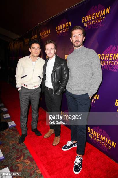 Actors Rami Malek Joe Mazzello and Gwilym Lee pose for a photo on the red carpet for a special screening of 'Bohemian Rhapsody' at the Castro Theatre...