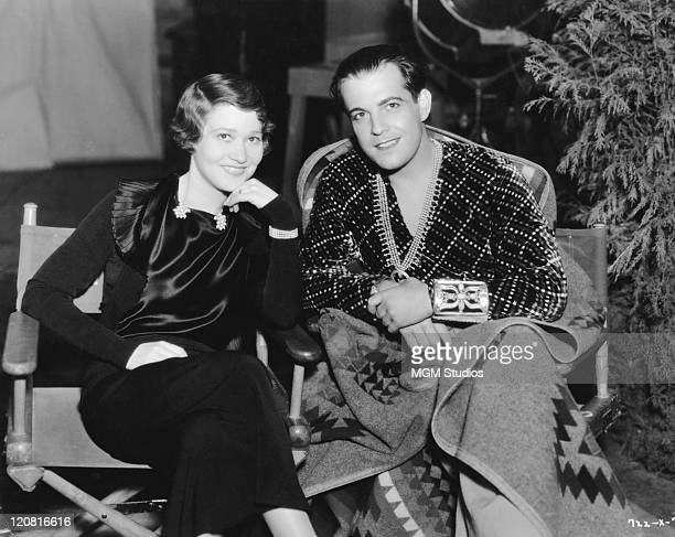 Actors Ramon Novarro and Fay Bainter at MGM Studios In Hollywood California 1934 They are filming 'Laughing Boy' and 'This Side Of Heaven'...