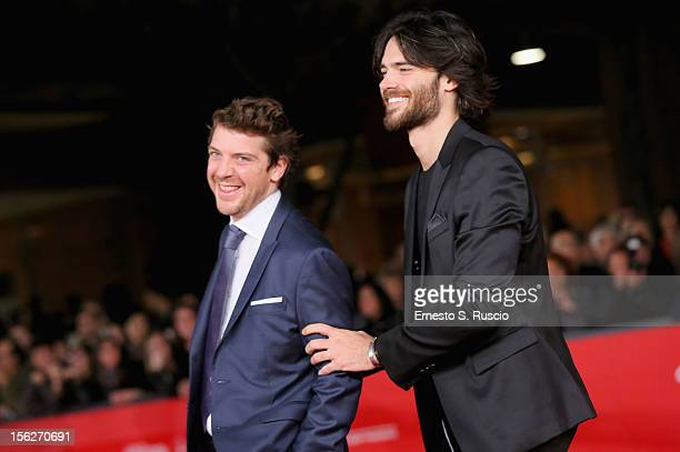 Actors Ramsey Nasr and Giulio Berruti attend the 'Goltzius And The Pelican Company' Premiere during the 7th Rome Film Festival at the Auditorium...