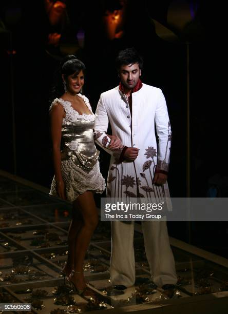 Actors Ranbir Kapoor and Katrina Kaif walked the ramp in a Rohit Bal's collection at the Wills Lifestyle Grand Finale which took place at pragati...