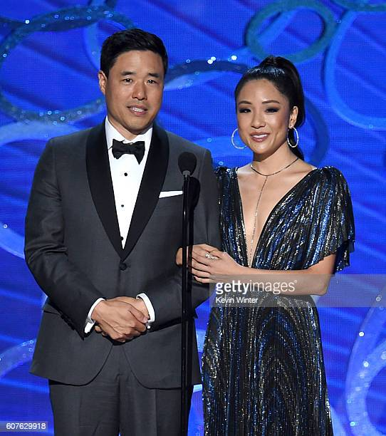 Actors Randall Park and Constance Wu speak onstage during the 68th Annual Primetime Emmy Awards at Microsoft Theater on September 18 2016 in Los...