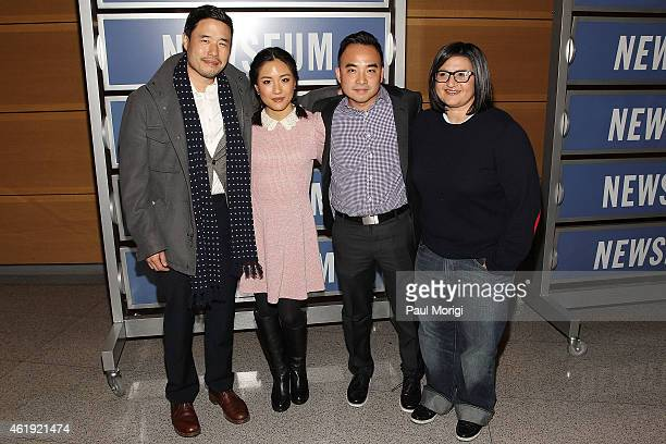 Actors Randall Park Constance Wu and Producers Melvin Mar and Nahnatchka Khan attend the Fresh Off The Boat Washington DC Screening at The Newseum on...