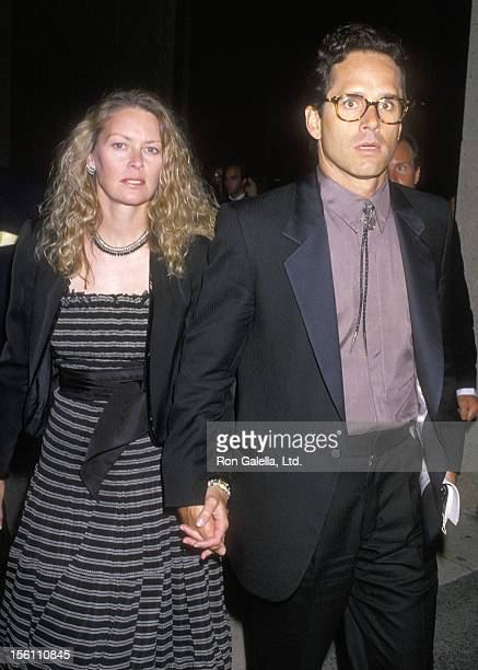 Actors Randi Oakes and Gregory Harrison attend the 'Phantom of the Opera' Los Angeles Opening Night on May 31 1989 at Ahmanson Theatre at LA Music...