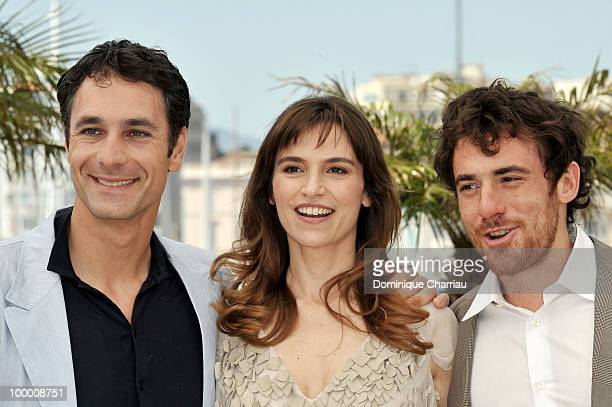 Actors Raoul Bova Stefania Montorsi and Elio Germano attend the 'Our Life' Photo Call held at the Palais des Festivals during the 63rd Annual...