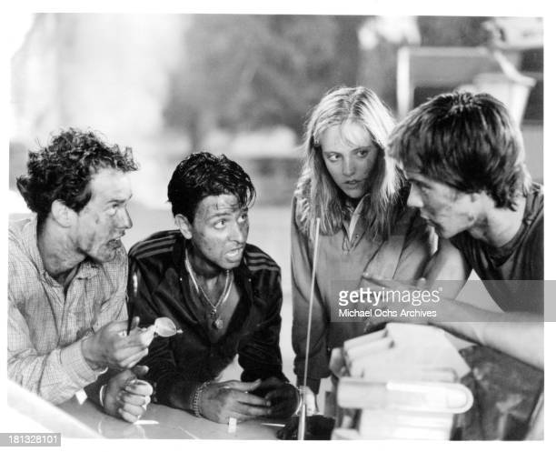 Actors Raphael Sbarge Fisher Steven actress Danielle von Zerneck and John Stockwell on set of the Buena Vista movie My Science Project in 1985