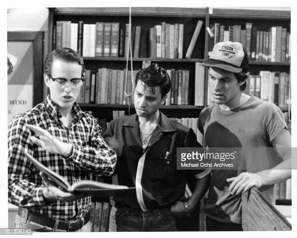 Actors Raphael Sbarge Fisher Steven and John Stockwell on set of the Buena Vista movie My Science Project in 1985