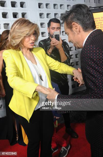 Actors Raquel Welch and Eugenio Derbez arrive for the Premiere Of Pantelion Films' How To Be A Latin Lover held at ArcLight Cinemas Cinerama Dome on...