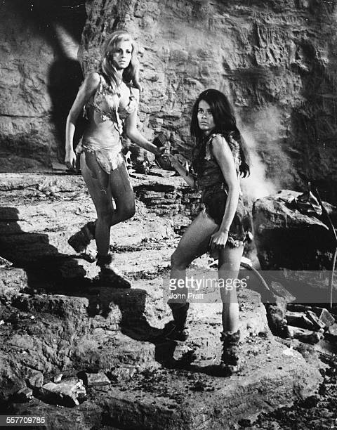 Actors Raquel Welch and Martine Beswick in a scene from the film 'One Million Years BC' 1966