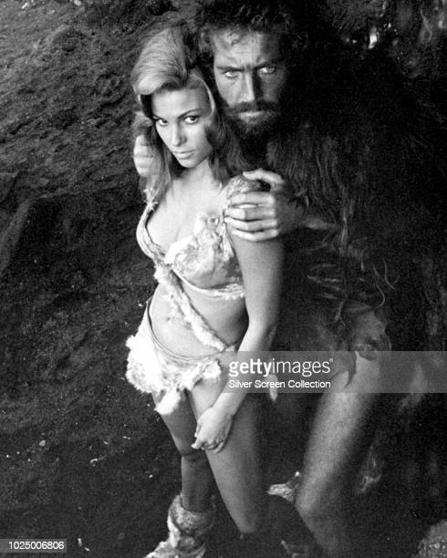 Actors Raquel Welch as Loana and John Richardson as Tumak in the film 'One Million Years BC' 1966