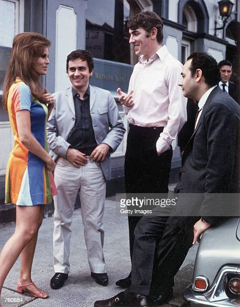 Actors Raquel Welch Dudley Moore and Peter Cook talk behind the scenes during the filming of the film 'Bedazzled' in this 1967 photo The 66yearold...