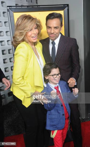 Actors Raquel Welch Eugenio Derbez and Raphael Alejandro arrive for the Premiere Of Pantelion Films' How To Be A Latin Lover held at ArcLight Cinemas...