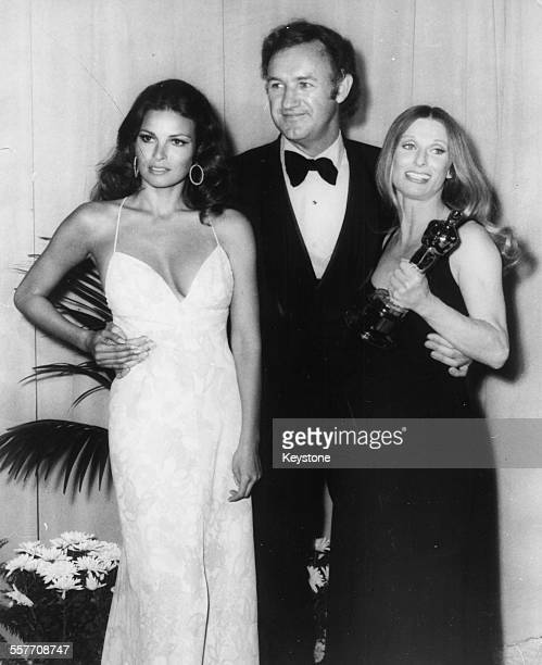 Actors Raquel Welch, Gene Hackman and Cloris Leachman at the 44th Academy Awards in Hollywood, CA, April 17th 1972.