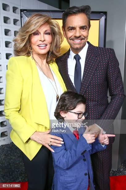Actors Raquel Welch Raphael Alejandro and Eugenio Derbez attend the premiere of How To Be A Latin Lover on April 26 2017 in Los Angeles California