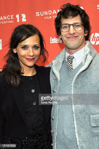 Actors Rashida Jones and Andy Samberg arrive at 'Celeste And Jesse Forever' at the Eccles Center Theatre during the 2012 Sundance Film Festival on...
