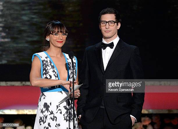 Actors Rashida Jones and Andy Samberg speak onstage at the 21st Annual Screen Actors Guild Awards at The Shrine Auditorium on January 25 2015 in Los...