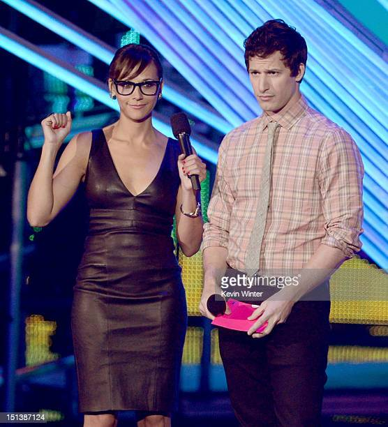 Actors Rashida Jones and Andy Samberg speak onstage during the 2012 MTV Video Music Awards at Staples Center on September 6 2012 in Los Angeles...