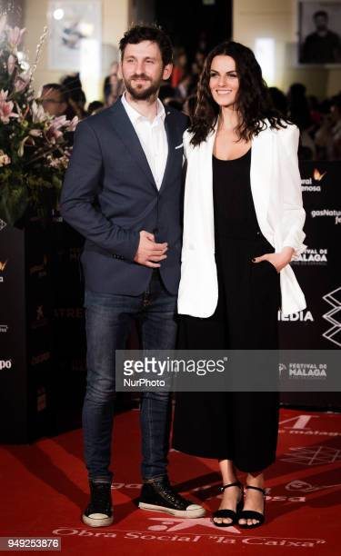 Actors Raul Arevalo and Melina Matthwes attend 'Casi 40' premiere during the 21th Malaga Film Festival at the Cervantes Theater on April 20 2018 in...