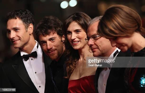 Actors Raul Bova Elio Germano Stefania Montorsi Director Daniele Luchetti and Alina Berzenteanu attend the 'Our Life' Premiere at the Palais des...
