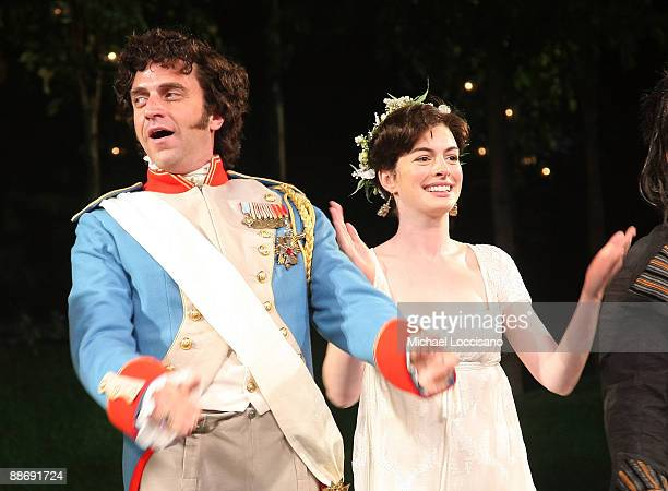 """Actors Raul Esparza and Anne Hathaway perform during the 2009 Shakespeare in the Park opening night performance of """"Twelfth Night at the Delacorte..."""