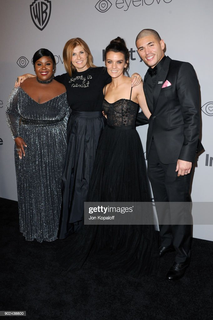 Actors Raven Goodwin, Connie Britton, Frankie Shaw and Miguel Gomez attend 19th Annual Post-Golden Globes Party hosted by Warner Bros. Pictures and InStyle at The Beverly Hilton Hotel on January 7, 2018 in Beverly Hills, California.