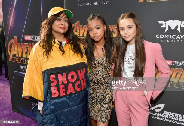 Actors RavenSymone Sky Katz and Navia Robinson attend the Los Angeles Global Premiere for Marvel Studios' Avengers Infinity War on April 23 2018 in...