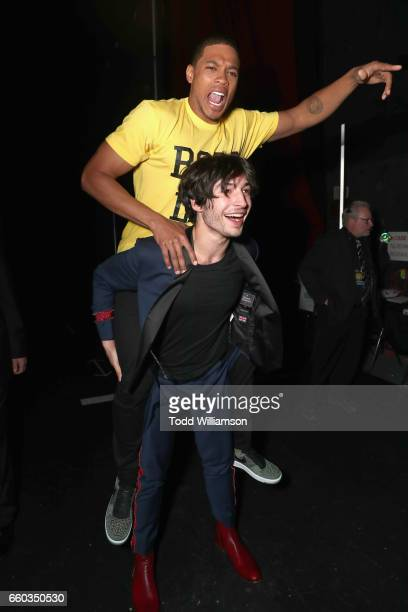 """Actors Ray Fisher and Ezra Miller at CinemaCon 2017 Warner Bros. Pictures Invites You to """"The Big Picture"""", an Exclusive Presentation of our Upcoming..."""