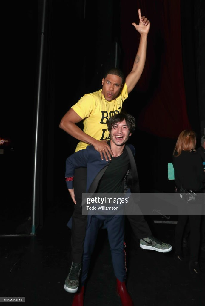 "Actors Ray Fisher (L) and Ezra Miller at CinemaCon 2017 Warner Bros. Pictures Invites You to ""The Big Picture"", an Exclusive Presentation of our Upcoming Slate at The Colosseum at Caesars Palace during CinemaCon, the official convention of the National Association of Theatre Owners, on March 29, 2017 in Las Vegas, Nevada."
