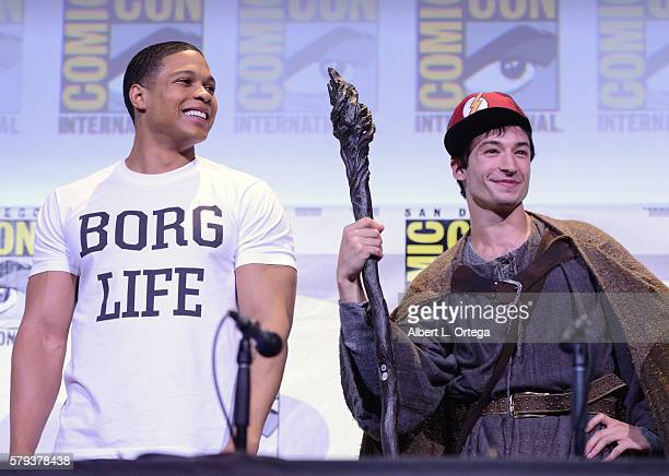 Actors Ray Fisher and Ezra Miller attend the Warner Bros 'Justice League' Presentation during ComicCon International 2016 at San Diego Convention...