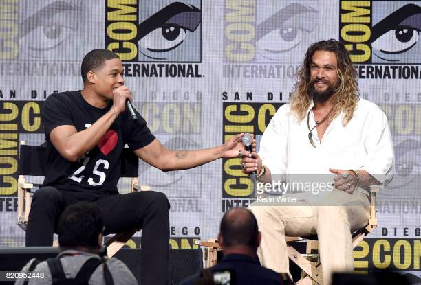 """Actors Ray Fisher and Jason Momoa attend the Warner Bros. Pictures """"Justice League"""" Presentation during Comic-Con International 2017 at San Diego..."""