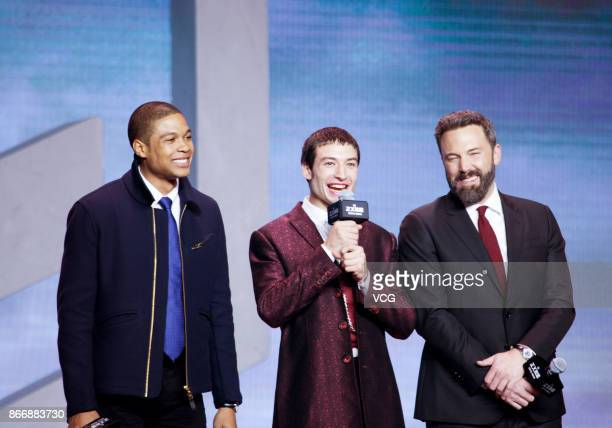 Actors Ray Fisher Ezra Miller and Ben Affleck attend 'Justice League' premiere at 798 Art Zone on October 26 2017 in Beijing China