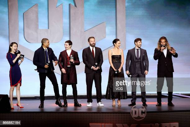 Actors Ray Fisher Ezra Miller Ben Affleck Gal Gadot Henry Cavill and Jason Momoa attend 'Justice League' premiere at 798 Art Zone on October 26 2017...