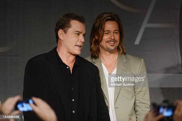 Actors Ray Liotta and Brad Pitt pose for picturess at the 'Killing Them Softly' press conference during the 65th Annual Cannes Film Festival at...