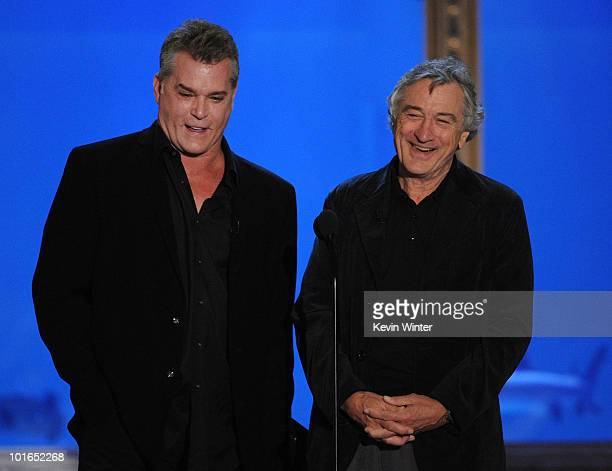 Actors Ray Liotta and Robert De Niro speak onstage during Spike TV's 4th Annual 'Guys Choice Awards' held at Sony Studios on June 5 2010 in Los...