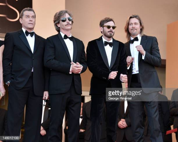 Actors Ray Liotta Ben Mendelsohn Scoot McNairy and Brad Pitt attend the Killing Them Softly Premiere during the 65th Annual Cannes Film Festival at...