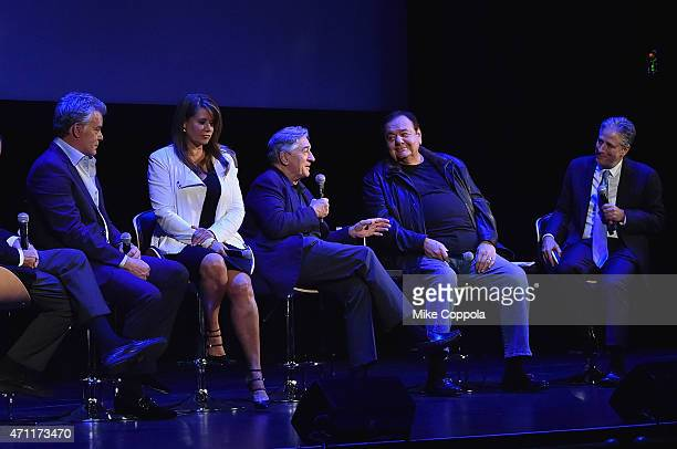 Actors Ray Liotta Lorraine Bracco Robert De Niro Paul Sorvino and host Jon Stewart attend the closing night screening of 'Goodfellas' during the 2015...