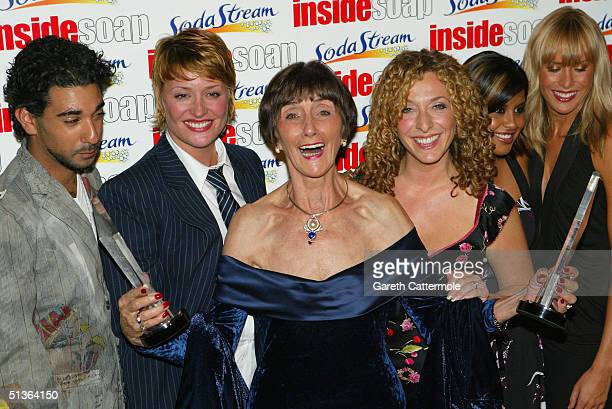 Actors Ray Panthaki Laurie Brett June Brown TracyAnn Oberman Pooja Shah and Jemma Walker of EastEnders pose backstage during the Inside Soap Awards...