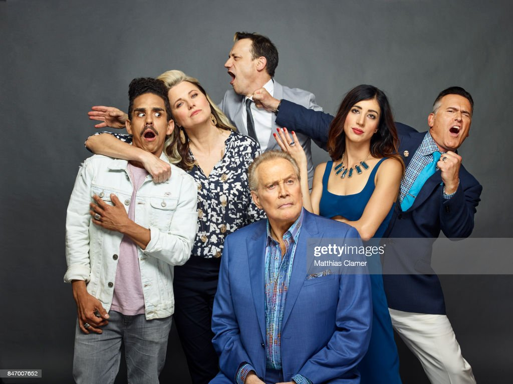 Actors Ray Santiago, Lucy Lawless, Ted Raimi, Lee Majors, Dana Delorenzo and Bruce Campbell from 'Ash vs. Evil Dead' are photographed for Entertainment Weekly Magazine on July 22, 2016 at Comic Con in the Hard Rock Hotel in San Diego, California. PUBLISHED