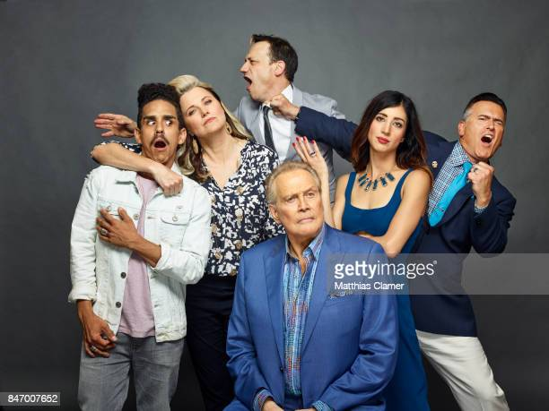 Actors Ray Santiago Lucy Lawless Ted Raimi Lee Majors Dana Delorenzo and Bruce Campbell from 'Ash vs Evil Dead' are photographed for Entertainment...