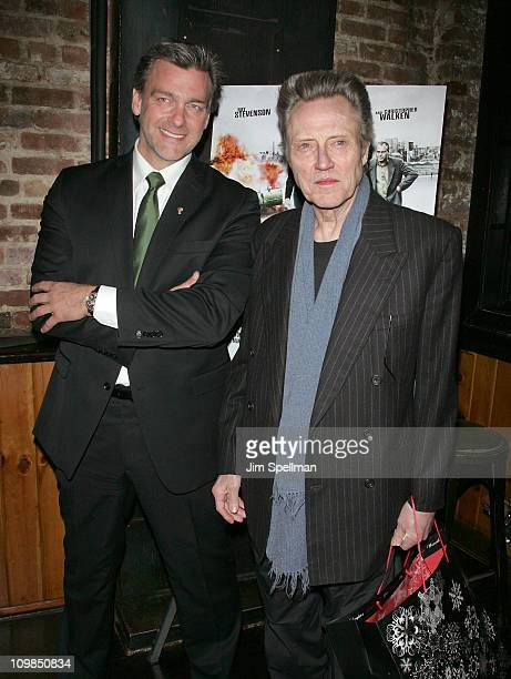 Actors Ray Stevenson and Christopher Walken attend the Kill the Irishman premiere after party at Puck Fair Bar on March 7 2011 in New York City