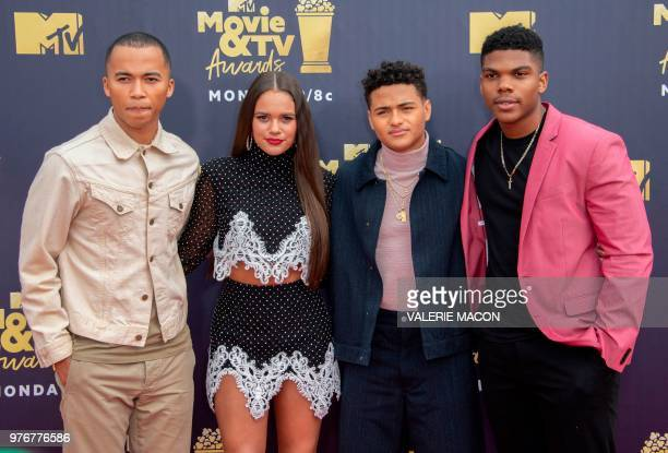 Actors Raymond Cham Jr Nate Potvin Madison Pettis and Spence Moore II attend the 2018 MTV Movie TV awards at the Barker Hangar in Santa Monica on...