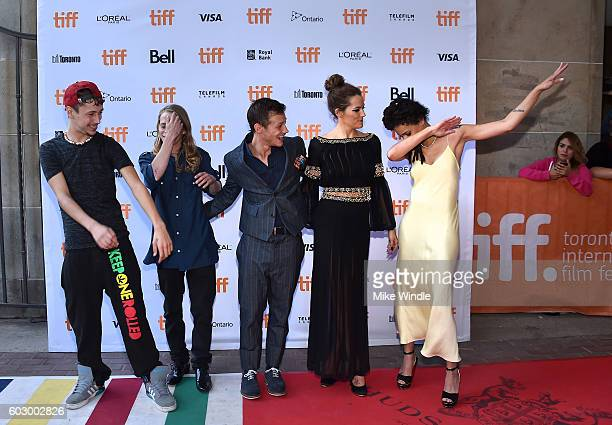 Actors Raymond Coalson Isaiah Stone Mccaul Lombardi Riley Keough and Sasha Lane attend the 'American Honey' premiere during the 2016 Toronto...